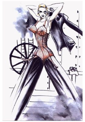 Jean Paul Gaultier sketches for Madonna'sThe Blonde Ambition Tour